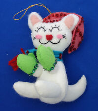 "5"" plush felt white Kitty Cat Christmas ornament vintage mid century"