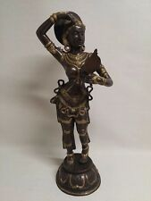 "Rare Vintage Beautiful Art Style Lady Statue Figurine Bronze/Brass 31 1/2"" Tall"