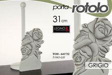 PORTA ROTOLO CUCINA IN LEGNO GRIGIO 31 CM DECORATO ROSE TOD-641732
