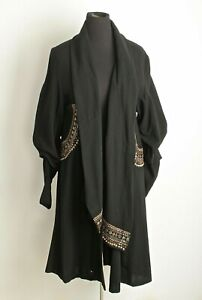 VTG 1940s Designer Gilbert Adrian Black & Gold Wool Coat Sz M 40s Couture
