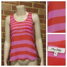 MISS SHOP Red & Pink Stripe Tank Top Ladies Size 8