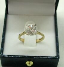 Beautiful Quality 9ct Gold And Large White Stone Solitaire Ring Size O