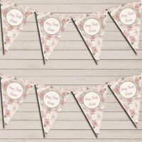 Floral Shabby Chic Vintage Pink Rose Rustic Personalised Wedding Day Bunting