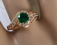 Vintage Jewellery Gold Ring Emerald and White Sapphires Antique Deco Jewelry