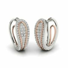 Huggies Ladies Earrings 1 Ct Round Diamonds 14K White Gold Plated 925 Silver