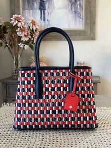 Kate Spade New York Eva Straw small Top Zip Satchel Handbag Crossbody Multi