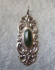 Vintage Towle Sterling Green Aventurine? Silver Pendant