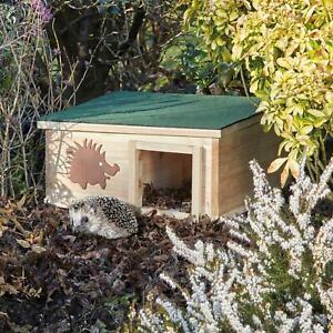 Garden Life Hedgehog House Wooden Roof Nature Hibernation Box Shelter Home Nest