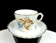 "ENGLISH PORCELAIN BLUE FLORAL GOLD TRIM RIBBED 2"" DEMITASSE CUP AND SAUCER"