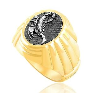 Scorpion Ring Men Signet Ring Sterling Silver Ring Unique Mens Jewelry Gold Gift