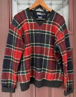 Polo Ralph Lauren Vtg Lambswool Wool Mens Crewneck Sweater Size M HandKnit Plaid