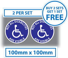 2 X NOT ALL DISABILITIES ARE VISIBLE 100mm Disabled Car Sticker Bus Vinyl Badge