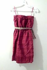 BCBGeneration Purple Pink Fuchsia Plaid Strapless Taffeta Cocktail Dress XS