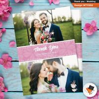 2 Photo picture WEDDING Thank You postcards Personalised Fast Post 50 100 200