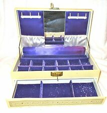 Large Vintage Faux Leather Jewelry Box Ivory/Gold Purple Velvet Lining w/Key