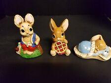 Vintage Lot of 3 Woodlander Pendelfin Rabbit Figurine iB