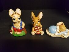Vintage Lot of 3 Woodlander Pendelfin Rabbit Figurine 1B