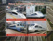 Madagascar 2018 MNH Chinese High-Speed Trains 4v M/S Railways Rail Stamps