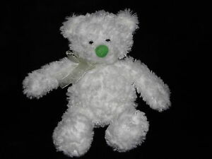 GUND WHITE BEAR SOFT TOY GREEN NOSE TEDDY COMFORTER DOUDOU 44768