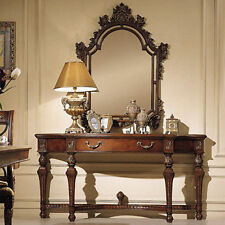 Antiqued Walnut Wall Console Table w/ Mirror Set OI-729-006-004