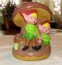 Vintage Pottery Pixie Elves Elf Pixies Under Mushroom Garden Decor CUTE!