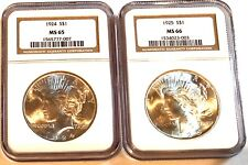U.S. Silver Peace Dollars Ngc 1924- Ms 65 & Ngc 1925 Ms-66 See Other Morgans