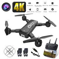 Drohne FPV WIFI Mit 1080P 4K HD Dual Live Kamera KopflosModus 20Min Flug 2 Akkus