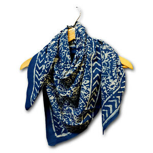 Large Cotton Block Print Dabu Summer Scarf for Women Lightweight Soft Sheer