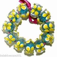 LAMPWORK GLASS BEADS BLUE AND YELLOW FLOWERS 11 BEAD BRACELET SET LAMP WORK