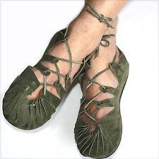 Bundschuhe Leder Grün Schuhe Sandalen Larp Mittelalter Wikinger Reenactment Goa