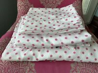 Cynthia Rowley White Pink Polka Dots Full Sheet Set Flat Fitted 2 Pillow Cases