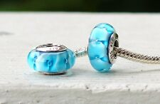 Authentic Sterling Silver Turquoise Glass Bead Fit European Charm Bracelet S 925