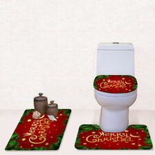 Christmas Bathroom Mat Pedestal 3 in 1 Soft Floor Solid Carpet Rug Toilet Cover