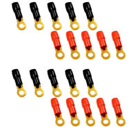 """The Wires Zone 4 Gauge 5/16"""" Gold Plated Ring Terminal - 20 Pack"""