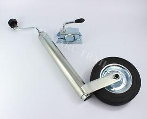 Heavy Duty 48mm Split Clamp Jockey Wheel Wind Up Trailer Caravan Stand Steel