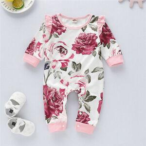 Newborn Babys Girls Floral Long Romper Bodysuit Jumpsuit Playsuit Clothes Outfit