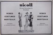PUBLICITÉ 1927 NICOLL ROBES COSTUMES MANTEAUX COSTUMES DE CHEVAL - ADVERTISING