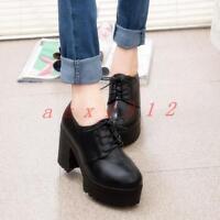 Chic Womens Round Toe Platform Lace Up High Chunky Heel British Oxfords Fashion