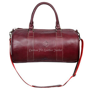 Holdall New Stylish 9098 Cherry Weekend Duffel Travel Gym 100 % Real Leather Bag