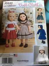 """Simpilicity """"KeepersDollyDuds"""" Sewing Pattern For 18 Inch Dolls. New"""