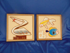 Framed decorative tiles fish and pelican hand crafted glazed framed wood made