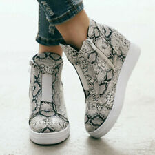 Womens Snakeskin Hidden Wedge Heels High Top Casual Ankle Boots Fashion Shoes SZ