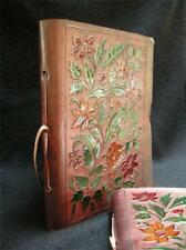 A5 Leather Diary Sketchbook Journal - Hand-Painted Wild Flowers, Cartridge Paper