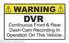 WARNING STICKER DVR Continuous Front & Rear Dash-Cam Recording In Operation TAXI