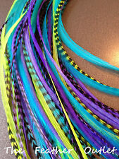 Lot 20 Whiting Grizzly Feathers Hair Extensions Purple Blue Green Long NOMER