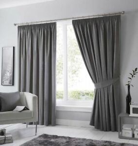 Fusion Dijon Charcoal Luxury Thermal/Blackout Pencil Pleat Fully Lined Curtains