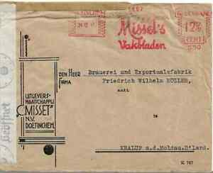 NETHERLANDS TO GERMANY WITH CENSOR STATION 'C' COLOGNE TYPED COVER  REF 212