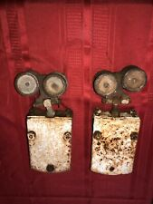 Vintage Pair Barn Shed  Door Trolley Hanging Track Rollers Iron