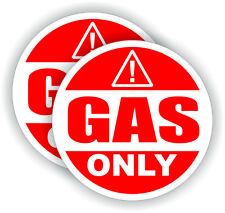 (2) 2-inch GAS ONLY Vinyl Automotive Decals | Fuel Tank Gasoline Stickers Labels