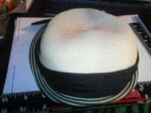 Woman's adult Winkelman's hat white plastic straw look black satin aged
